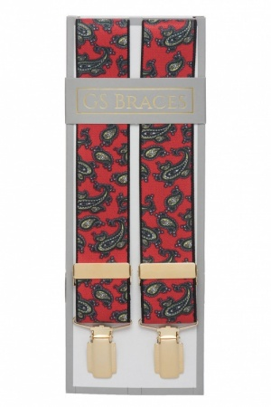 Red Trouser Braces with Large Paisley Design